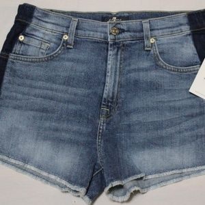 $179 7 FOR ALL MANKIND TWO TONE DENIM SHORT US 30